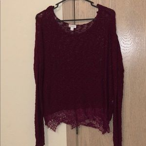 knit sweater with lace at bottom